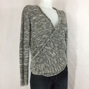 Free People Marled Gray V-Neck Sweater sz XS